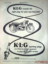1957 Motor Cycle ADVERT - Velocette Valiant 'K.L.G. Spark Plugs' AD