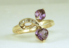 1.16 CT Total Weight Genuine Amethyst Heart Ring – 14KT Gold