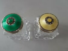 Enamelled Norwegian Solid Silver Enamel Salt & Pepper Yellow & Green Enamelling