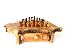A handcrafted Chess board S, made of olive wood, with drawers and small bracket