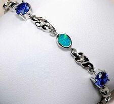 Sapphire & Australian Opal Inlay Topaz 925 Solid Sterling Silver Tennis Bracelet