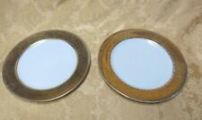 2 Syracuse China OPCO Onondaga Pottery Wide Gold Gilded Band Dinner Plates 1920s
