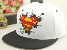 2016 New Fashion S Superman Hip-hop Baseball Cap Adjustable Snapback hats white