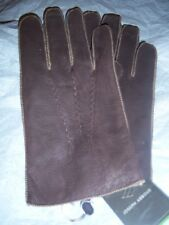 Joseph Abboud Brown Rabbit Fur lined Leather gloves,XLarge