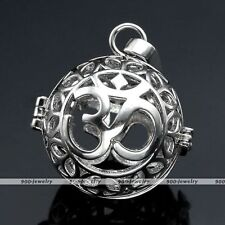 Womens Pregnant OM Symbol Cage Harmony Ball Pendant Chime Bola Bead For Necklace