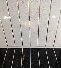 8 Platino Brillo Blanco De Pared Cromado revestimiento Tope De Cocina Plástico Pvc Paneles