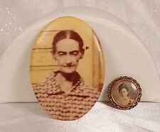 Antique Mourning Jewelry Photo Mirror Photo Brooch Pin Pre-1950 Historic Vintage