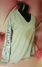 Victorias Secret PINK Campus Tee Gray Pastel Long Sleeve V Neck Shirt S Small