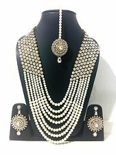 New Indian Bollywood Costume Jewellery Necklaces Stone Pearl Gold White Wedding