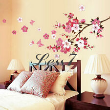 Hot Decal Cherry Peach Blossom Plum Flowers Butterfly Wall Stickers Decor star
