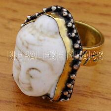 """R789B Tibetan Nepalese Handmade Brass White Howlite Buddha Head Ring 8.5"""""""