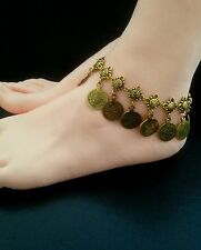 Anklet Boho Antique Gold Hippie Ethnic Bohemian Belly Dance Tribal Gypsy Coin UK