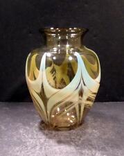Studio Art Glass Amber and Green Vase, Signed Rochester Folk Art Guild - MINT