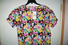 """Scrubs Top, """"Made 2 Love"""",  Flowers, Multicolored, 100% Cotton 2 pockets."""