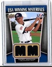MANNY MACHADO 2009 UD USA WINNING MATERIALS DUAL GAME WORN USA JERSEY#/499