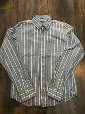 Mens Abercrombie & Fitch Grey White Pinstriped Long Sleeve Shirt - Size XL