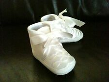 Free Post Baby Boy Christening Baptism Pram Shoes Booties White/Ivory  0-12M