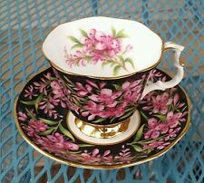 Royal Albert Black & Pink Provincial Flowers Fireweed Cup & Saucer 1975