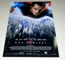 "MAN OF STEEL CAST X3 PP SIGNED POSTER 12""X8"" SUPERMAN HENRY CAVILL"