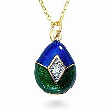 Russian Style Imperial Blue/Green Enameled Egg Pendant