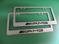 "(2)NEW "" AMG "" Mercedes-Benz Stainless Steel license plate frame +screw caps"