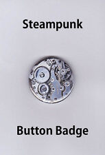 Steampunk Button Badge 25mm Watch Movement, Brooch, Pin, Free Post, NEW