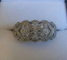 DIAMOND BAND ring Eye catching FLORAL design 9 carat WHITE gold Half etenity
