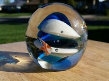 Handblown Round Art Glass Paperweight, Bright Blue & Colorful Fish bubbles EUC