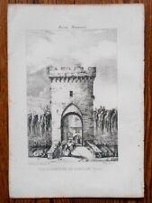 Lithographie Originale XIXème - Porte d'Entrée de Cadillac - J. Philippe