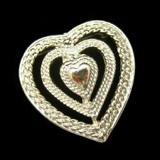 GERRYS Vintage Triple Heart Sweetheart Brooch Pin Pendant Open Textured