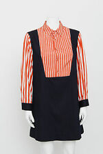 MARNI Red White Striped Dark Blue Long Sleeve Button Front Denim Shift Dress L