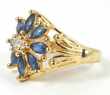 Women's 24 Carat Gold plated Blue and clear Zircon ring jewellery UK Size O