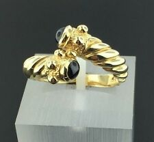 Lady's vintage 14k yellow gold Etruscan style Onyx bypass twist ring