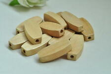 20pcs Natural Wood Bead Oval Rectangular Wooden Unfinished Craft Accessory 1MT95