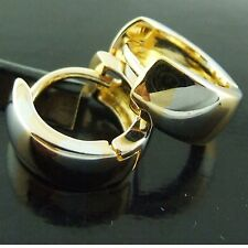 AN212 MULTI-TONE REAL 18K YELLOW WHITE G/F GOLD SOLID HUGGIE HOOP EARRINGS