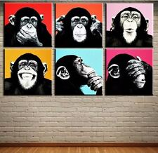 """Andy Warhol Oil Painting on Canvas Abstract Thinking Monkey 6 PCS set 16x16""""each"""