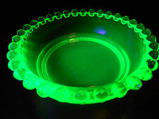 Green Vaseline glass candlewick dish nappy soap jam tip bowl uranium radioactive