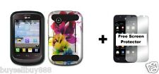 For LG 306G Hybrid Phone Cover Case + Free Screen Protector Colorful Flower