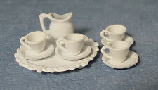 1:12 Scale 10 Piece Metal White Dolls House Miniature Tea Set Accessory 870