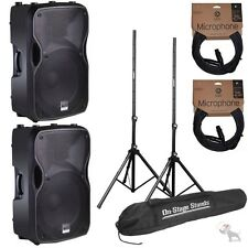 """(2) Alto TS115A 15"""" Active Powered 2-Way 800-W DJ Speakers w/ Stands and Cables"""