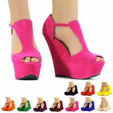 NEW WOMENS LADIES FAUX SUEDE PLATFORM PEEPTOE HIGH WEDGE SHOES BOOTS 3 4 5 6 7 8