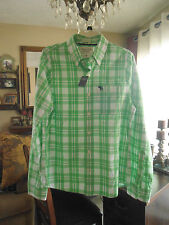NWT ..ABERCROMBIE & F .. Men's Plaid Shirt .. Size M    Green / White