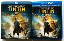 THE ADVENTURES OF TINTIN 3D BLU RAY DVD 3 DISC LIMITED EDITON + RARE SLIPCOVER