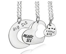 3PCS Women Love Heart Big Middle Little Sister Pendant Necklace Best Friend Set