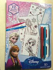 Nouveau Disney Frozen 3D Dot-to-dot - 12 feuilles de 2 stylos lunettes 3D-Anna Elsa Olaf