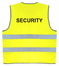 SECURITY Fluorescent Yellow Hi-Vis Safety Vest | Size Small/Medium FREE UK P&P