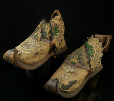 A Rare 19th Century Pair of Tibetan Highly Decorative Leather Soled Shoes.