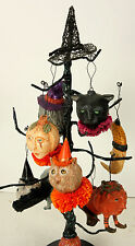 Halloween Tree with 9 Ornaments Paper Mache OOAK by Bonnie Jones