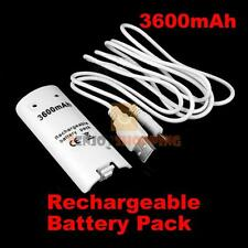 3600mAh Rechargeable Battery Pack for Game Nintendo Wii Via USB Cable White