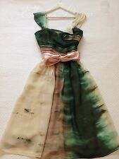 AS NEW VERONIKA MAINE Wedding Dye Flare Swing Print Dress Silky Sash Size 8 $359